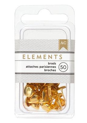American Crafts Elements Brads Gold 50pc