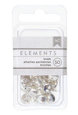 American Crafts American Crafts Elements Brads Silver 50pc