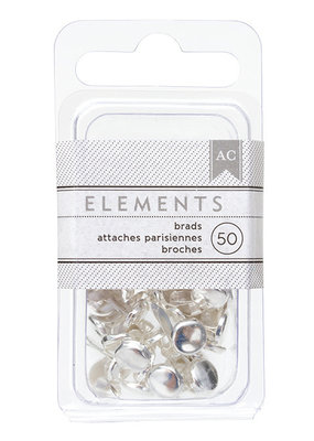 American Crafts Elements Brads Silver 50pc