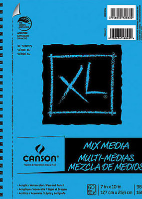 Canson Sketchbook XL Mixed Media Spiral Bound 60 Sheets 7 x 10