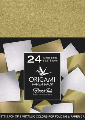 Black Ink Decorative Papers Decorative Mulberry Origami Paper Gold Silver