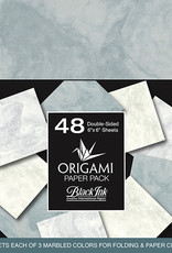 Black Ink Decorative Papers Decorative Origami Papers Classic Marble