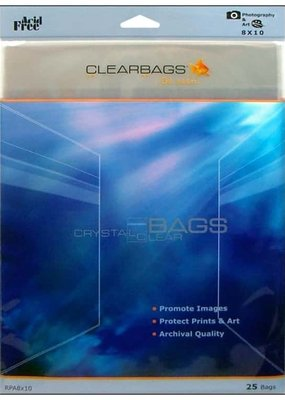 "Clear Bags Clear Bags  8"" x 10"" 25 Piece Pack"