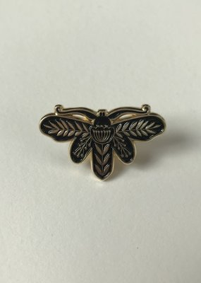 collage Enamel Pin Black Cecropia Moth