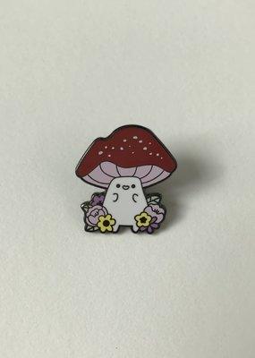 collage Enamel Pin Spring Mushroom