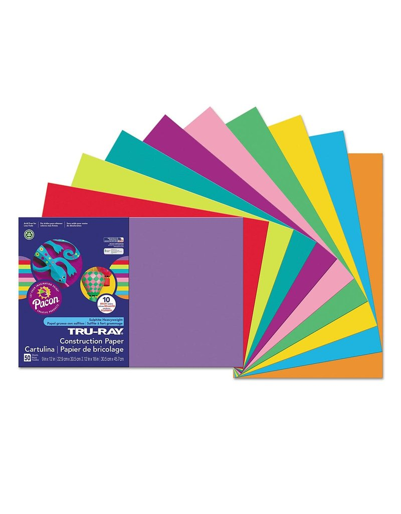 Pacon Tru-Ray Construction Paper 12 x 18 Assorted Colors