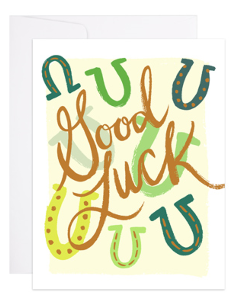 9th Letter Press Card Good Luck Horseshoe