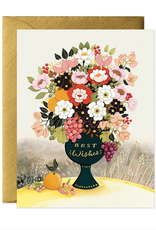 joo joo paper Card Best Wishes Flower Vase