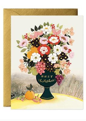 joo joo paper Card Best Wishes Flower Vase