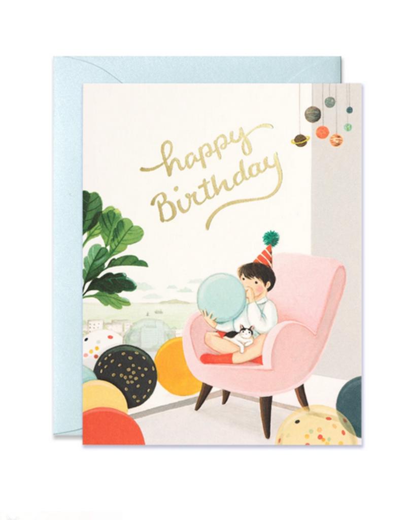 joo joo paper Card Blowing Balloons Birthday