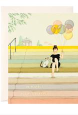 joo joo paper Card Girl on Stairs Birthday