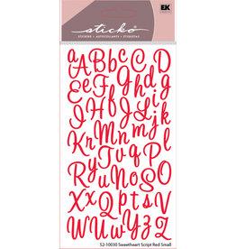 EK Sticker Alpha Script Sweetheart Small Glitter Red