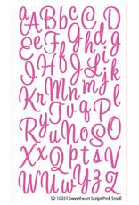EK Sticker Alpha Script Sweetheart Small Glitter Pink