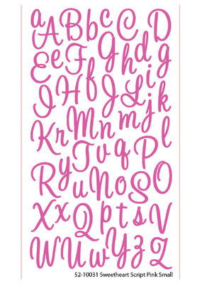 EK Sticker Alpha Script Sweetheart Small Glitter Pink