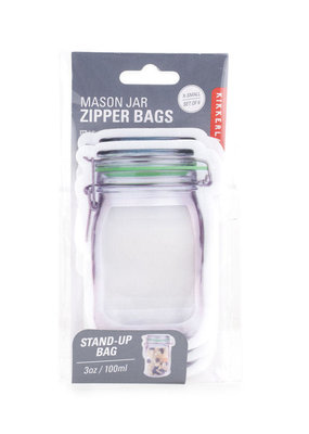 Kikkerland Flip Top Jar Zipper Bag Extra Small