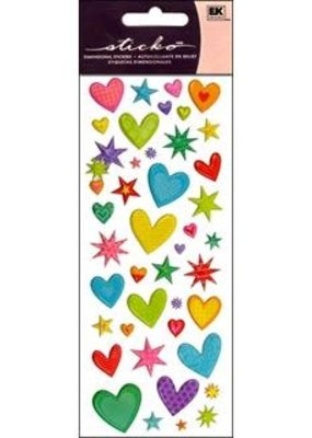 EK Sticker Puffy Hearts n Stars