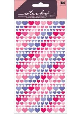 EK Sticker Vellum Purple And Pink Hearts