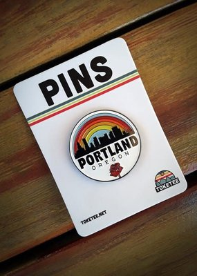 Toketee Enamel Pin Portland Rose Rainbow White