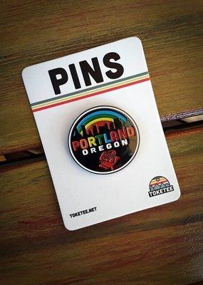 Toketee Enamel Pin Portland Rainbow