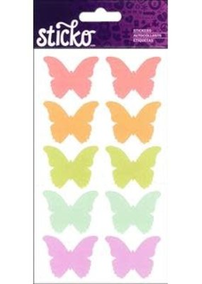 Sticko Sticker Labels Bright Butterfly Silhouette