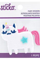 EK Fuzzy Sticker Unicorn Cat