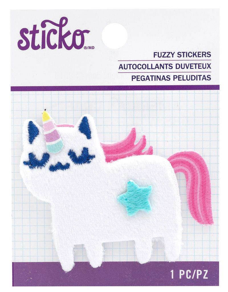 Sticko Fuzzy Sticker Unicorn Cat