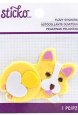 Sticko Fuzzy Sticker Fat Corgi
