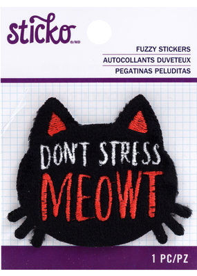EK Fuzzy Sticker Don't Stress Meowt