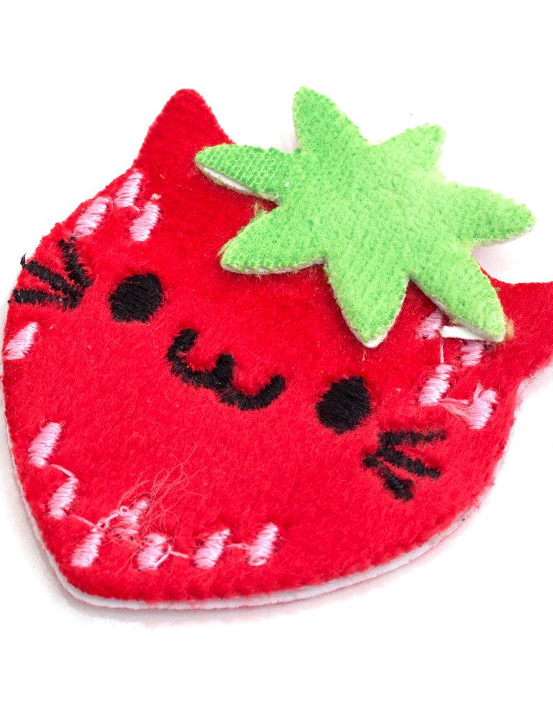 Sticko Fuzzy Sticker Strawberry Cat