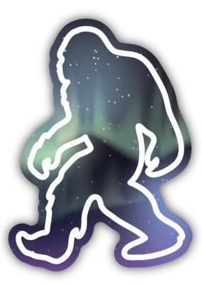 Stickers NW Sticker Northern Lights Sasquatch