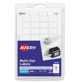 "Avery Avery White Removable Print/Write Labels .5""X.75"" 1008/Pkg"