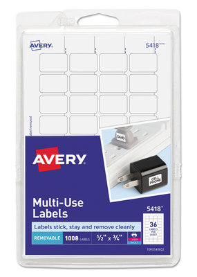 "Avery Avery White Removable Print/Write Labels .5""X.75"" 1008/Pkg"