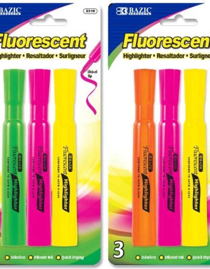 Bazic Bazic Highlighter Fluorescent 3 Pack