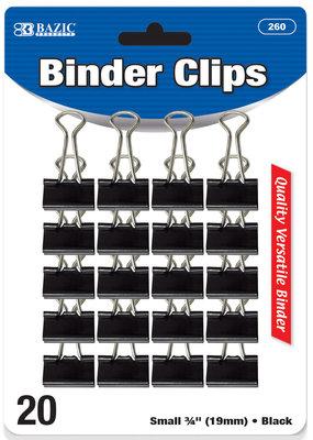 Bazic Bazic Binder Clip .75 Inch Black 20 Piece