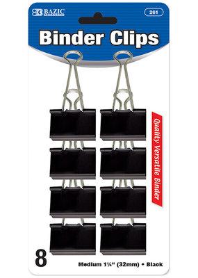 Bazic Bazic Binder Clip 1.25 Inch Black 8 Piece