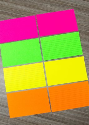 "Bazic Index Cards 3""x 5"" Ruled 75pc Assorted Fluorescent"