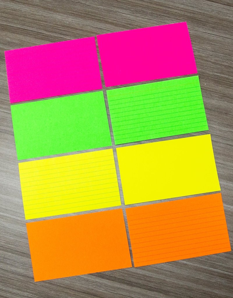 """Bazic Index Cards 3""""x 5"""" Ruled 75pc Assorted Fluorescent"""