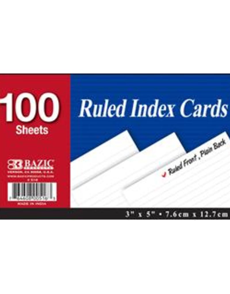 Bazic Bazic Index Cards 3 x 5 Ruled 100 Piece White