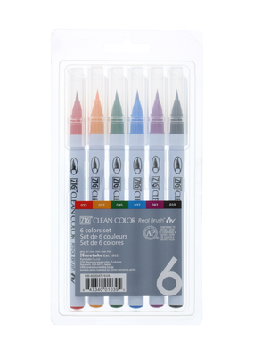 Kuretake Zig Zig Clean Color Real Brush 6 Color Set