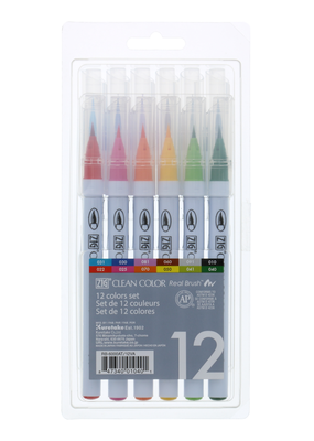 Kuretake Zig Zig Clean Color Real Brush 12 Color Set