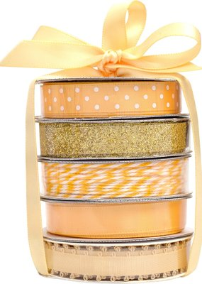 American Crafts Premium Ribbon 5 Pack Gold