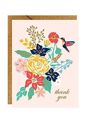 Waste Not Boxed Cards Humming Bird Floral Thank You Foil