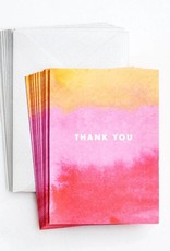 Waste Not Boxed Cards Watercolor Sunset Thank You Foil