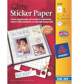 Avery Sticker Paper Sheets 8.5 x 11 Clear