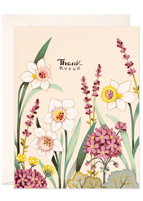 joo joo paper Card Cream Floral Thank You