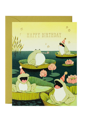 joo joo paper Card Singing Frogs Birthday