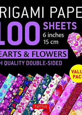 Tuttle Publishing Origami Paper 6 Inch Hearts and Flowers 100 Sheets