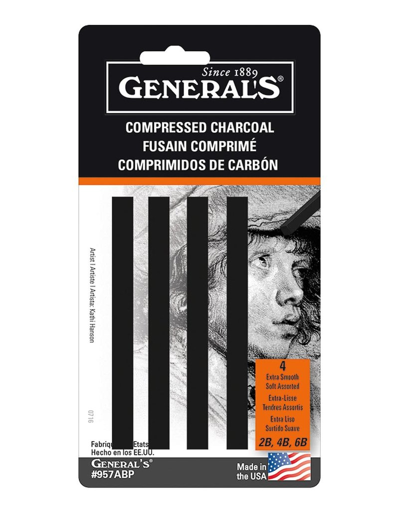 General Pencil Compressed Charcoal 4 Sticks Black