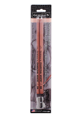 General Pencil Charcoal Pencil White 2 Pack