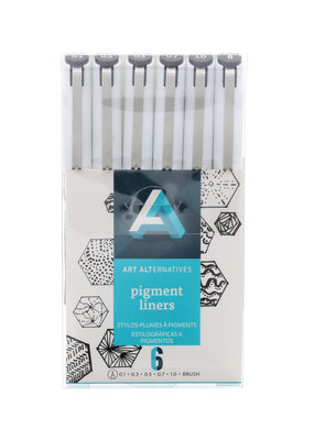 Art Alternatives Pigment Liners and Brush Tip 6 Piece Black